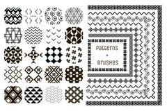 20个传染媒介几何样式和7把样式刷子 库存图片