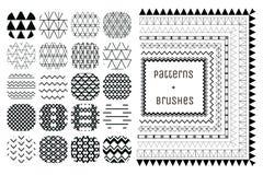 20个传染媒介几何样式和7把样式刷子 库存照片
