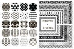 20个传染媒介几何样式和11把样式刷子 库存图片
