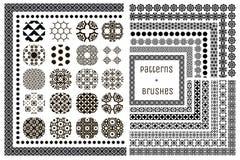 20个传染媒介几何样式和15把样式刷子 库存图片