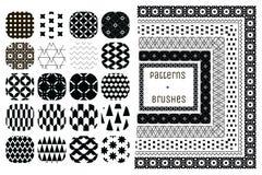 20个传染媒介几何样式和6把样式刷子 免版税库存照片