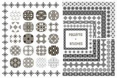 20个传染媒介几何样式和15把样式刷子 免版税库存图片