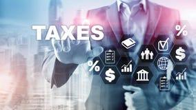 个体和公司缴纳的税的概念例如大桶、收入和财产税 付税 州税 向量例证