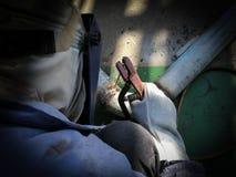 个体防护用品焊接管子的工作者人 免版税库存照片