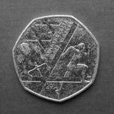 50个便士硬币 库存图片