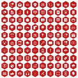 100个信息技术象六角形红色 免版税图库摄影