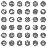 36个党时间乐趣单色按钮集合 免版税图库摄影