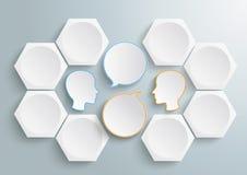 6个六角形2头讲话Infographic 免版税库存图片