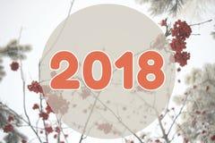 2018个冬天风景在淡色橙色颜色的背景卡片 图库摄影