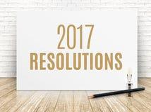 2017个决议在与黑的铅笔的白皮书海报发短信 库存照片