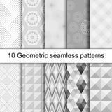 10个几何灰色无缝的样式 免版税图库摄影