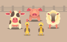 7个动物动画片农厂例证系列 免版税库存图片