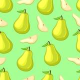 整个动画片在绿色背景的梨和切片 图库摄影