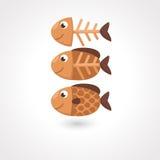 5个动画片鱼例证系列向量 图库摄影