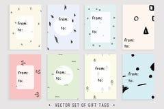 8个可印的礼物标记的传染媒介汇集 免版税库存照片