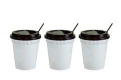 0 8个可用的杯子eps塑料版本白色 免版税库存图片
