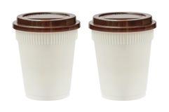 0 8个可用的杯子eps塑料版本白色 免版税库存照片