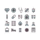 2个可用的eps图标查出的医学集合白色 库存照片