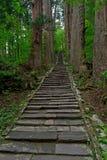 2446个台阶,登上Haguro在日本 免版税库存照片