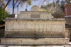 25个喷口喷泉, Xativa,西班牙 免版税库存照片