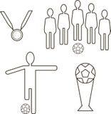 2个图橄榄球灰色图标设置了 与球的队,有球的,杯,奖牌球员 免版税库存照片
