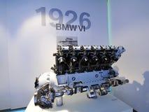12个圆筒在显示的BMW VI引擎在BMW博物馆 图库摄影