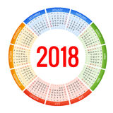 2018个圈子日历 印刷品模板 星期星期天开始 画象取向 套12个月 计划者2018年 免版税库存照片