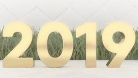 2019个在木桌上的新年快乐木数字3d翻译 时髦盖子 库存图片