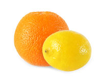 整个在白色背景隔绝的柠檬和橙色果子 库存图片