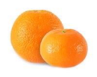 整个在白色隔绝的蜜桔和橙色果子 库存图片