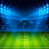 01个城市巴黎足球场 橄榄球与明亮的体育场光的竞技场领域 也corel凹道例证向量 图库摄影
