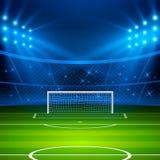 01个城市巴黎足球场 橄榄球与目标和明亮的体育场光的竞技场领域 橄榄球世界杯 向量 图库摄影