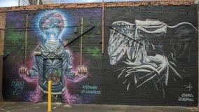 42个墙壁上的超现实主义,深Ellum,得克萨斯 库存图片