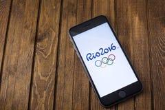 2016个夏天奥运会的正式商标 免版税库存图片