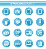 16个媒介象集合,蓝色版本 免版税库存照片
