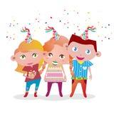 3个孩子惊喜聚会的传染媒介图象 免版税库存图片