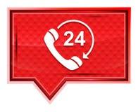 24个小时打开电话转动有薄雾箭头的象淡粉红色横幅按钮 向量例证
