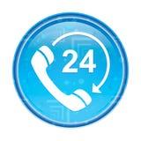 24个小时打开电话转动箭头象花卉蓝色圆的按钮 皇族释放例证