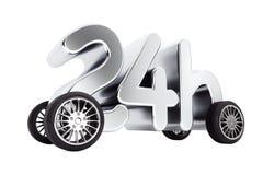 24个小时服务和交付概念在轮子 3d翻译 免版税库存照片