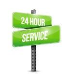 24个小时服务路牌例证设计 免版税图库摄影