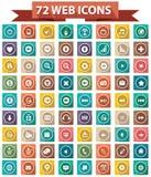 72个平的网站象,五颜六色的版本 免版税库存照片