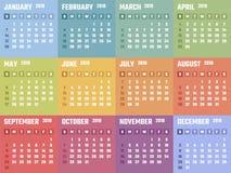 2018个开始的星期天,传染媒介日历设计日历2018年 库存图片