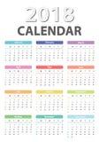 2018个开始的星期天,传染媒介日历设计日历2018年 免版税库存照片