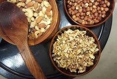 3个接近的干果类型 健康的食物 图库摄影