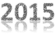 2015个数字组成由不同的螺栓和坚果在光滑的白色 免版税图库摄影