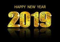 2019个新年 光滑的长篇题字和它的反射 祝贺的题字 例证 皇族释放例证