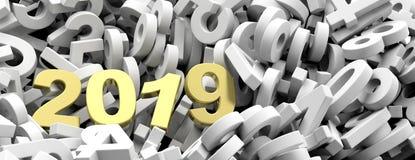 2019个新年 在白色的金黄2019个图编号背景,横幅 3d例证 库存照片