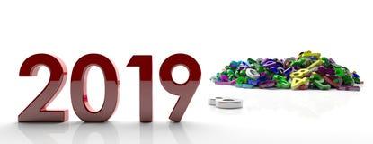 2019个新年 红色2019图和五颜六色的数字在白色背景,横幅堆积 3d例证 图库摄影