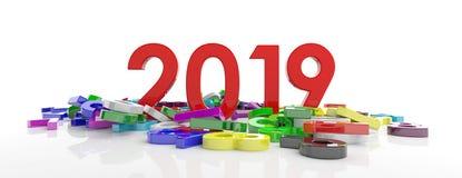 2019个新年 红色2019图和五颜六色的数字在白色背景,横幅堆积 3d例证 库存照片
