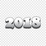 2018个新年3d样式传染媒介标志 免版税库存照片